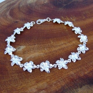 Sterling Silver Hawaiian Plumeria Link Bracelet (Thailand)
