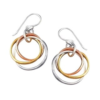 Sterling Silver Tri Color Hoop Dangle Earrings (Thailand)