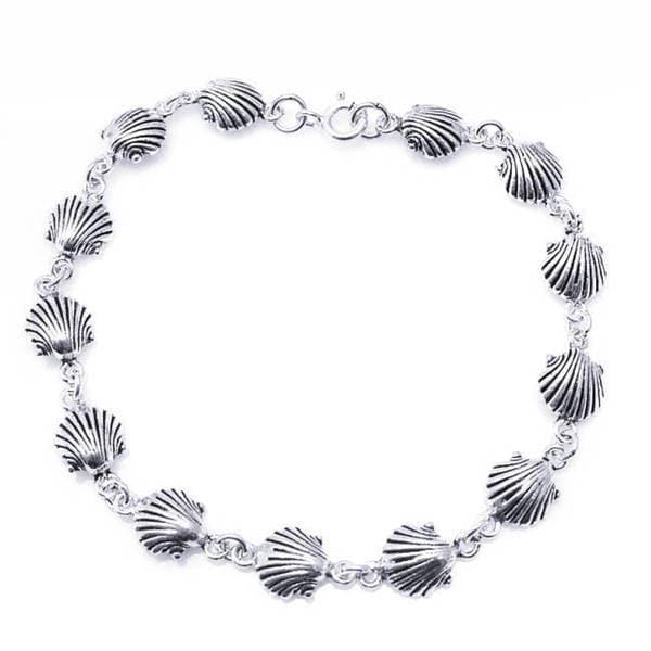 Handmade Sterling Silver Delicate Sea Shell Link Bracelet (Thailand) 10621912
