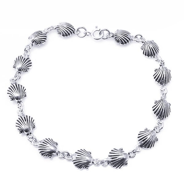 Sterling Silver Delicate Sea Shell Link Bracelet (Thailand) 10621912