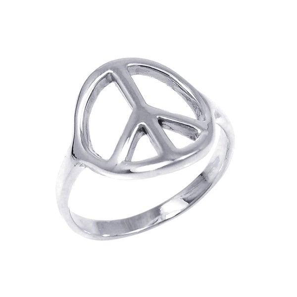 Silver Shiny Peace Sign 'No War' Ring (Thailand)