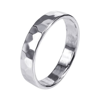Sterling Silver Mod Hammered Texture Band Ring (Thailand)