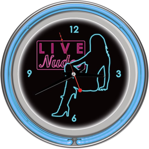 Shadow Babes D Series Two Blue Neon Rings Clock