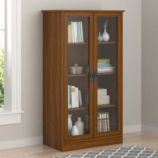 Altra Inspired Cherry Glass Door Bookcase