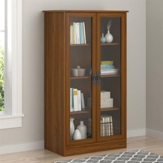 Ameriwood Inspired Cherry Glass Door Bookcase