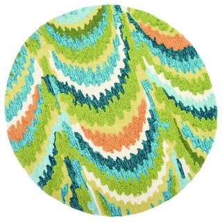 Hand-hooked Blossom Green/ Blue Rug (3' Round)