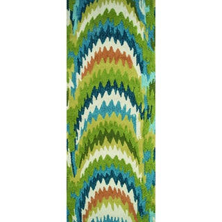 Hand-hooked Blossom Green/ Blue Rug (2'0 x 5'0)