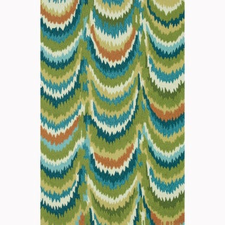 Hand-hooked Blossom Green/ Blue Rug (3'6 x 5'6)