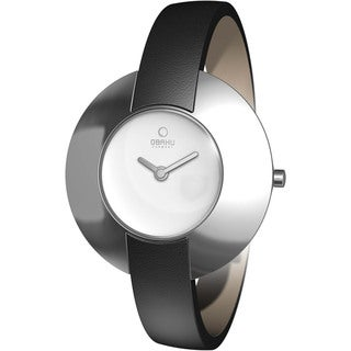 Obaku Women's Silver Dial and Black Calf Skin Quartz Watch