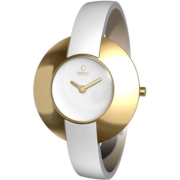 Obaku Women's Silver Dial and White Calf Skin Quartz Watch