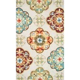 Hand-hooked Blossom Ivory/ Sage Rug (2'3 x 3'9)