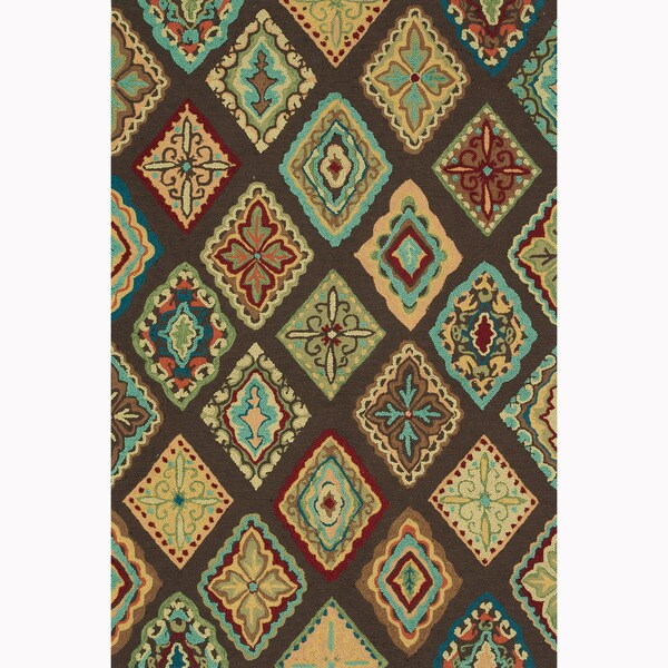 Hand-hooked Blossom Brown/ Multi Rug (7'6 x 9'6)