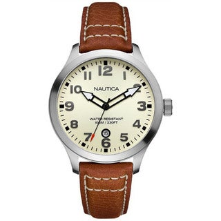 Nautica Men's BFD 101 Beige Dial and Brown Calf Skin Quartz Watch