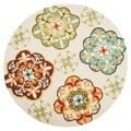 Hand-hooked Blossom Ivory/ Sage Rug (3' Round)
