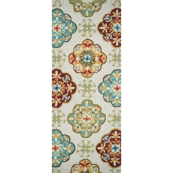 Hand-hooked Blossom Ivory/ Sage Rug (2'0 x 5'0)
