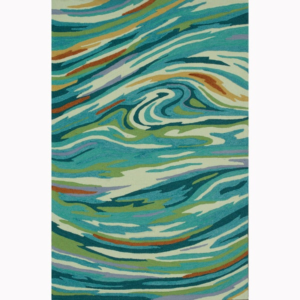 Hand-hooked Blossom Teal/ Multi Rug (5'0 x 7'6)