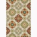 Hand-hooked Blossom Ivory/ Sage Rug (5'0 x 7'6)
