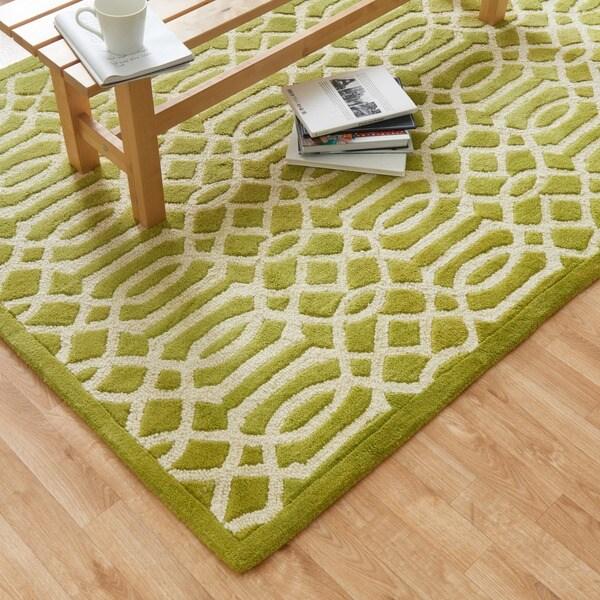 Hand-tufted Logan Apple Green Wool Rug (5'0 x 7'6)