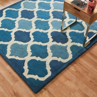 Hand-tufted Logan Cobalt Blue Wool Rug (5'0 x 7'6)