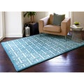 Hand-tufted Logan Teal Wool Rug (5'0 x 7'6)
