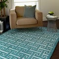 Hand-tufted Logan Teal Wool Rug (7&#39;10 x 11&#39;0)