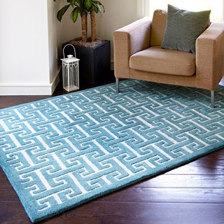 Hand-tufted Logan Teal Wool Rug (9'3 x 13')