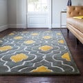 Hand-tufted Logan Grey/ Gold Wool Rug (5'0 x 7'6)