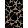 Mike Farrell Hand-tufted Jet Black Geometric Honeycomb Wool Rug (5' x 8')
