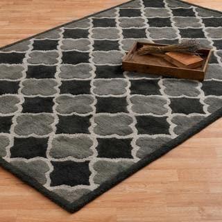 Hand-tufted Logan Black/ Grey Wool Rug (5'0 x 7'6)