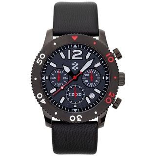 Izod Men's Black Leather Strap Quartz Watch