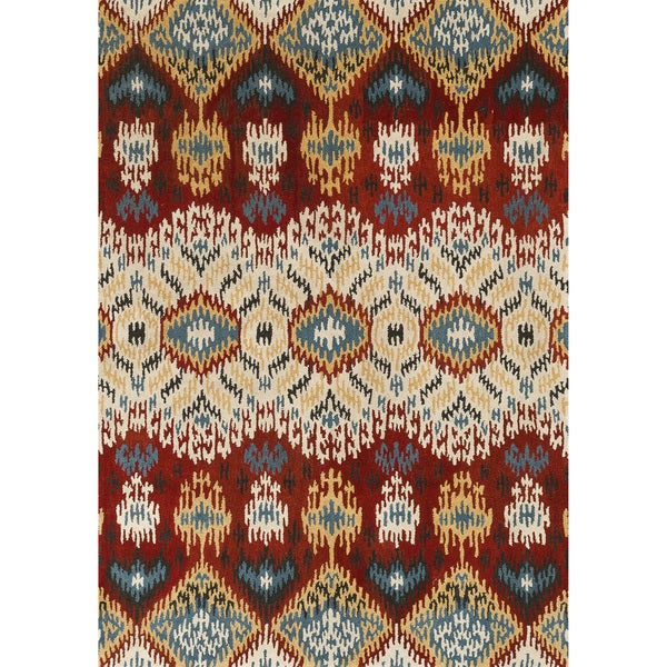 Hand-tufted Arianna Red/ Multi Wool Rug (7'10 x 11'0)