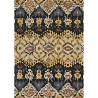Hand-tufted Arianna Black/ Light Gold Wool Rug (7'10 x 11'0)