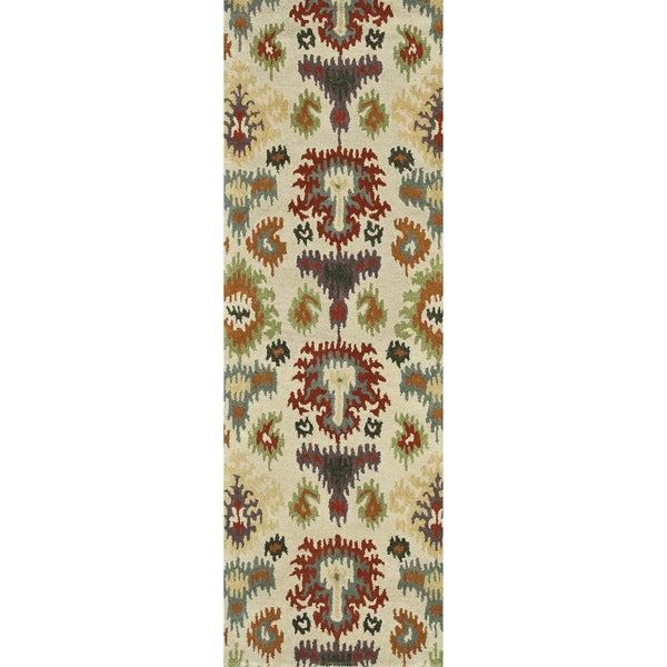 Hand-tufted Arianna Ivory/ Multi Wool Rug (2'6 x 7'6)