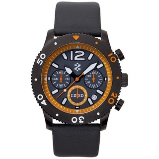 Izod Men's Black Leather Orange Dial Quartz Watch