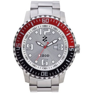 Izod Men's Silver Dial Black and Red Silver Satin Quartz Watch