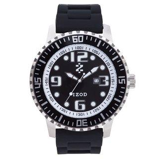 Izod Men's Black with Grey Markers Quartz Rubber Strap Watch