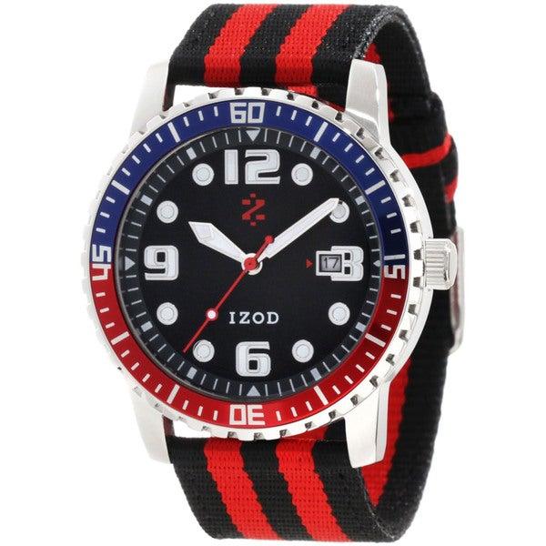 Izod Men's Two-tone Black Dial Cloth Strap Quartz Watch
