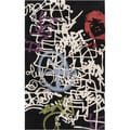 Mike Farrell Hand-tufted Graffiti Jet Black Abstract Wool Rug (5' x 8')