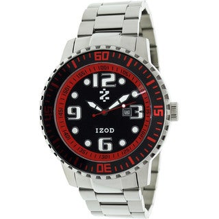 Izod Men's Silver with Red Dial Stainless Steel Quartz Watch