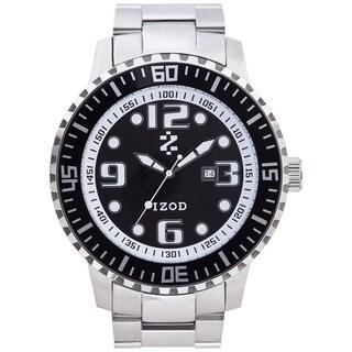 Izod Men's Black Dial Silver Stainless Steel Quartz Watch