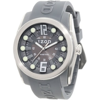 Izod Men's Grey Monochromatic Rubber Strap Quartz Watch