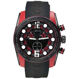 Izod Men's Black Resin Strap Red Dial Quartz Watch