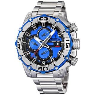 Festina Men's Tour De France Silver with Blue Dial Stainless Steel Quartz Watch