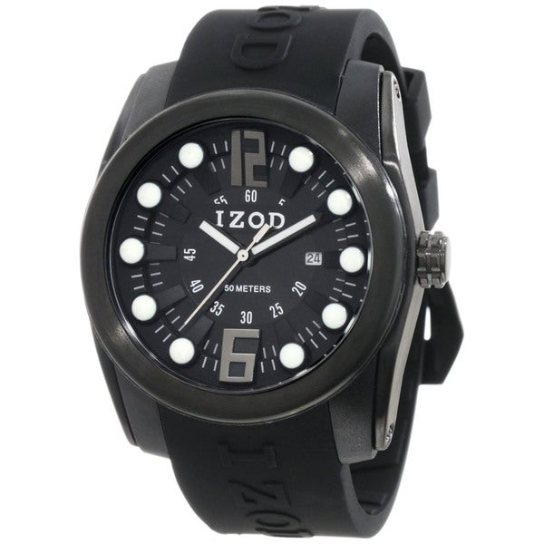 Izod Men's Black Monochromatic Rubber Quartz Watch