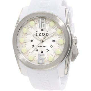 Izod Men's White Monochromatc Rubber Quartz Watch