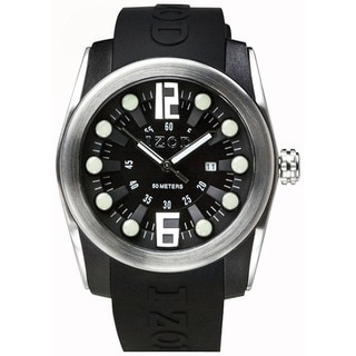 Izod Men's Black Rubber Strap with Black Dial Quartz Watch