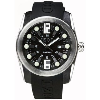 Izod Men's Black Rubber Strap with Black Dial Quartz Watch