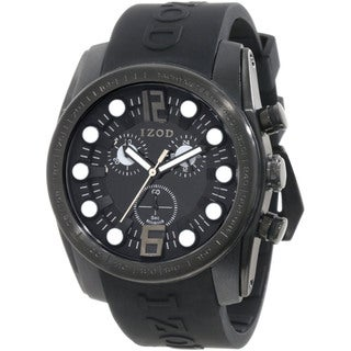 Izod Men's Black Monochromatic Resin Strap Quartz Watch