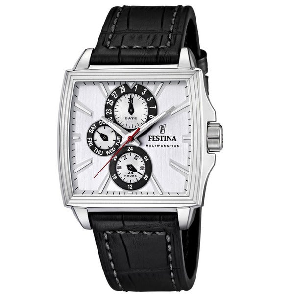 Festina Men's Square Face Black Leather Quartz Watch
