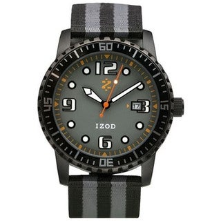 Izod Men's 'IZS3/1.Black.Grey' Black Nylon Quartz Grey Dial Watch